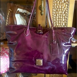 Dooney & Bourke large patent leather purple tote